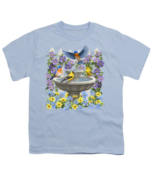 Fountain Festivities - Birds And Birdbath Painting Youth T-Shirt by Crista Forest