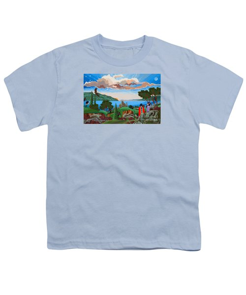 Youth T-Shirt featuring the painting From A High Place, Troubles Remain Small by Chholing Taha