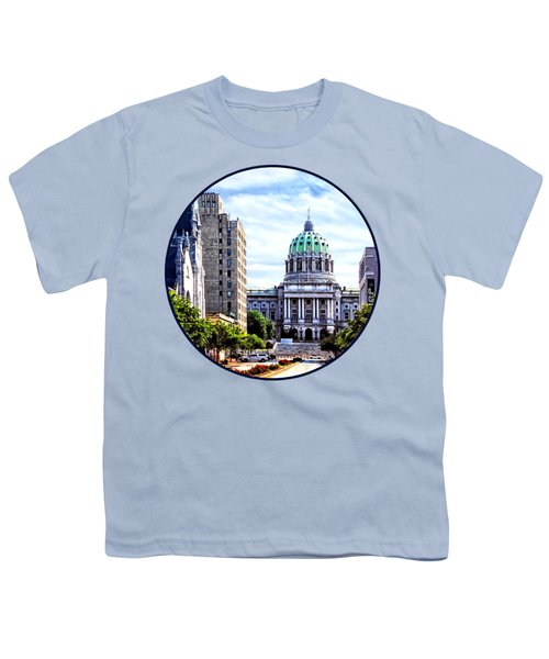 Harrisburg Pa - Capitol Building Seen From State Street Youth T-Shirt by Susan Savad