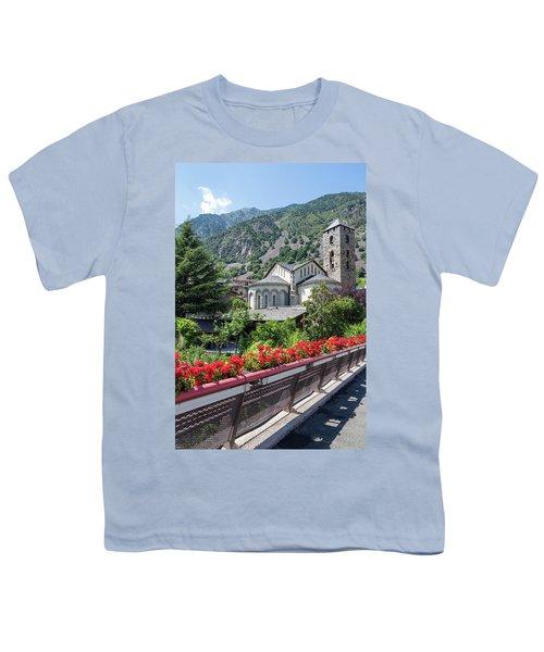 Historic Town Of Andorra La Vella Youth T-Shirt by GoodMood Art