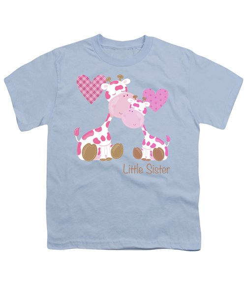 Little Sister Cute Baby Giraffes And Hearts Youth T-Shirt