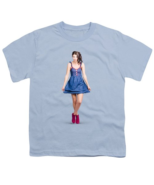 Lovable Eighties Female Pin-up In Denim Dress Youth T-Shirt