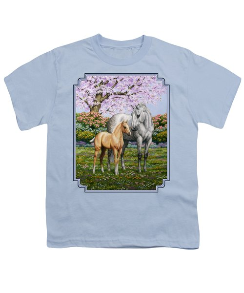 Mare And Foal Pillow Blue Youth T-Shirt