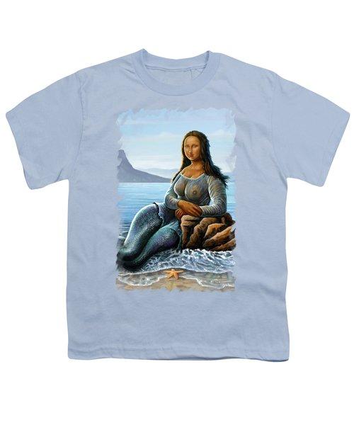 Monalisa Mermaid Youth T-Shirt by Anthony Mwangi