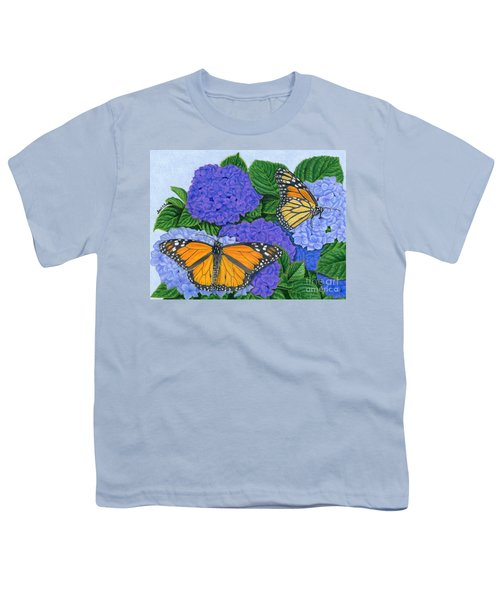 Monarch Butterflies And Hydrangeas Youth T-Shirt by Sarah Batalka