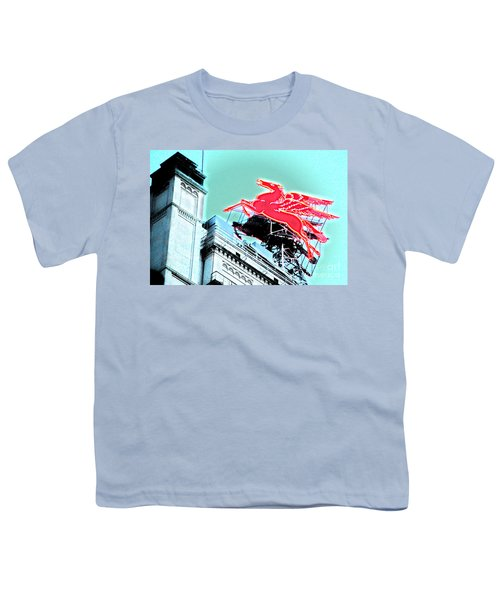 Neon Pegasus Atop Magnolia Building In Dallas Texas Youth T-Shirt