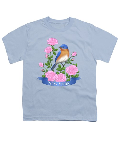 New York Bluebird And Pink Roses Youth T-Shirt