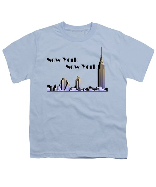 New York New York Skyline Retro 1930s Style Youth T-Shirt by Heidi De Leeuw