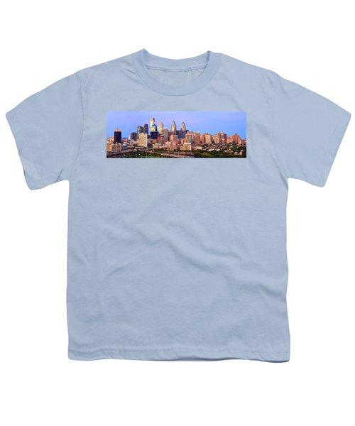 Philadelphia Skyline At Dusk Sunset Pano Youth T-Shirt by Jon Holiday