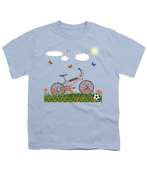 Pink Bicycle Youth T-Shirt by Gaspar Avila