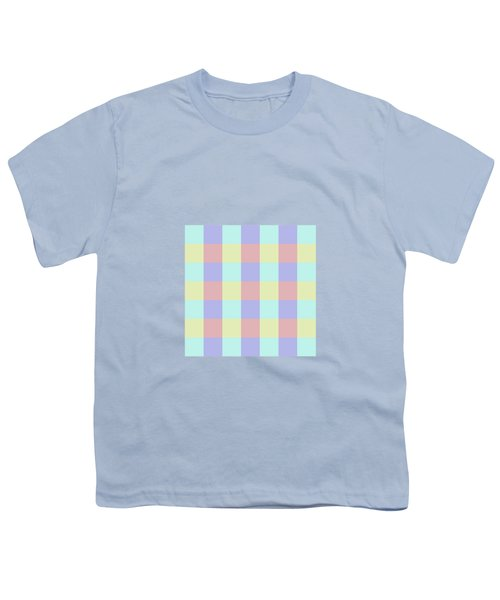 Plaid Blue Soft Yellow Rose Blush Lavender Cyan Tetradic Colour Blocks Youth T-Shirt