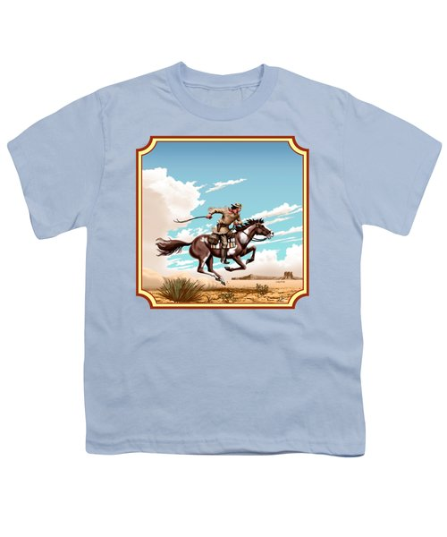 Pony Express Rider - Western Americana - Square Format Youth T-Shirt by Walt Curlee