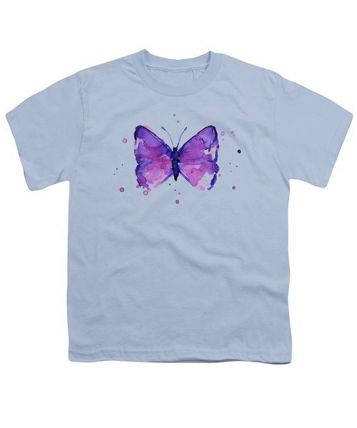 Purple Abstract Butterfly Youth T-Shirt