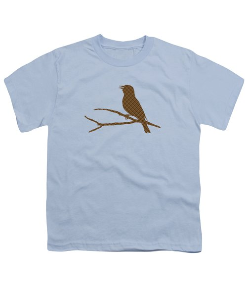 Youth T-Shirt featuring the mixed media Rustic Brown Bird Silhouette by Christina Rollo