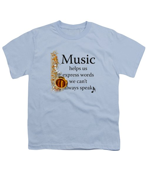 Saxophones Express Words Youth T-Shirt by M K  Miller