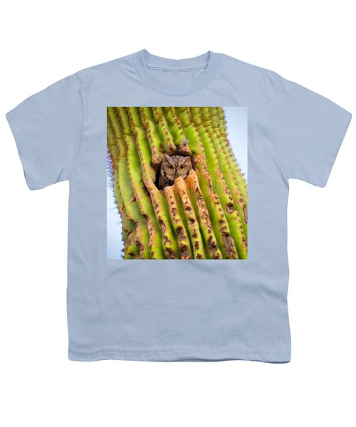 Screech Owl In Saguaro Youth T-Shirt