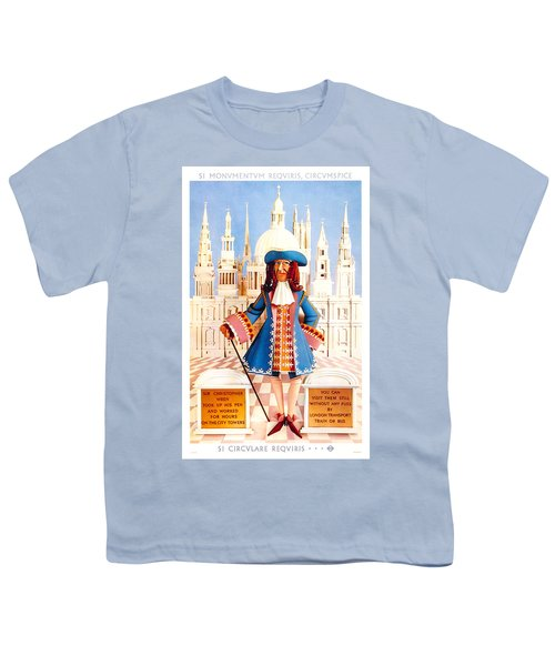 Sir Christopher Wren - St Paul's Cathedral - London Underground, London Metro - Retro Travel Poster Youth T-Shirt