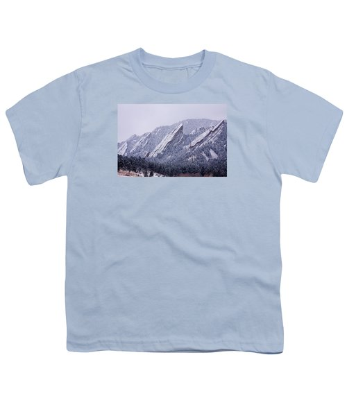 Snow Dusted Flatirons Boulder Colorado Youth T-Shirt