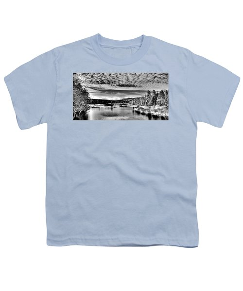 Snowy Day At The Green Bridge Youth T-Shirt by David Patterson