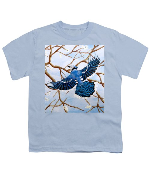 Soaring Blue Jay  Youth T-Shirt by Teresa Wing