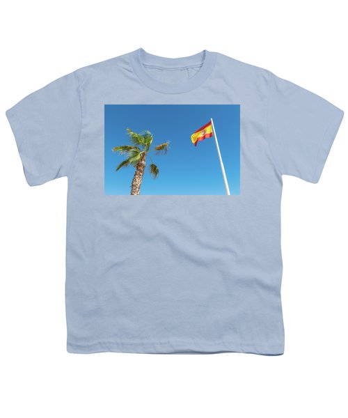 Spanish Flag And Palm Tree In The Blue Sky Youth T-Shirt