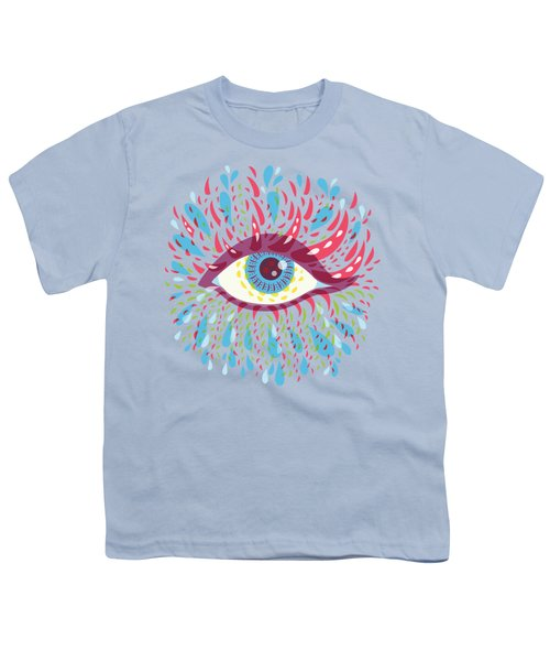 Strange Blue Psychedelic Eye Youth T-Shirt by Boriana Giormova