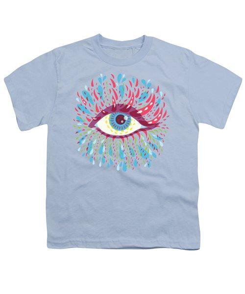 Strange Blue Psychedelic Eye Youth T-Shirt by Boriana Giormova