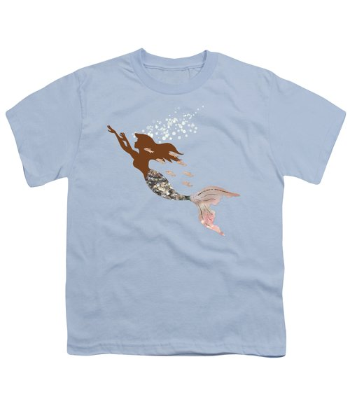 Swimming With The Fishes A Brown Mermaid Racing Rose Gold Fish Youth T-Shirt