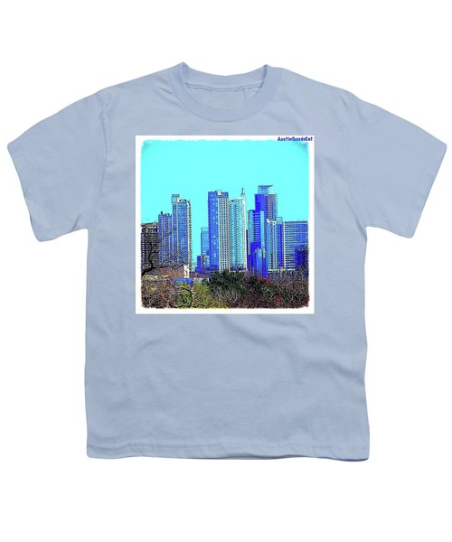 The #austin #skyline On A Sunny, Cold Youth T-Shirt by Austin Tuxedo Cat