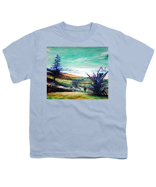 Youth T-Shirt featuring the painting The Lawn Pandanus by Winsome Gunning