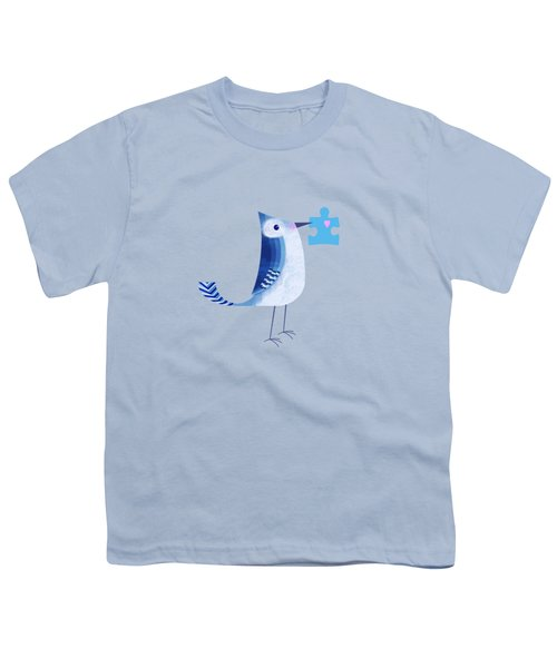The Letter Blue J Youth T-Shirt by Valerie Drake Lesiak