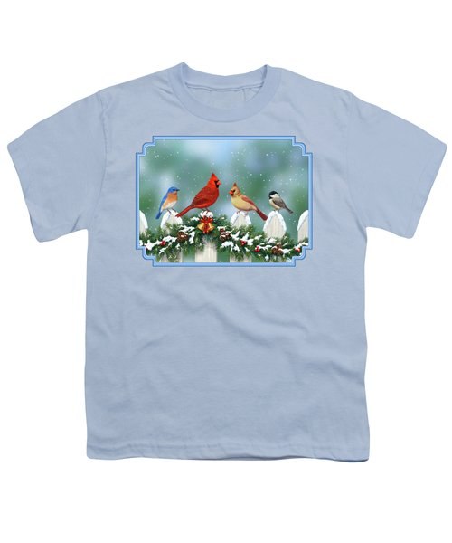 Winter Birds And Christmas Garland Youth T-Shirt by Crista Forest