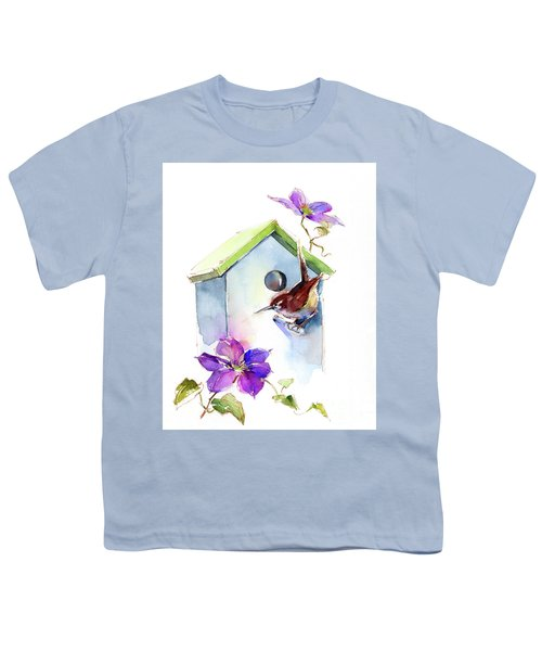Wren With Birdhouse And Clematis Youth T-Shirt
