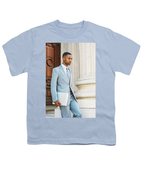 Young African American Businessman Working In New York Youth T-Shirt