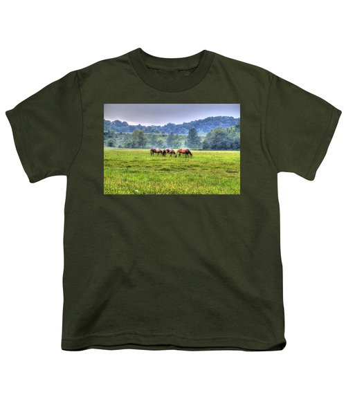 Youth T-Shirt featuring the photograph Horses In A Field by Jonny D