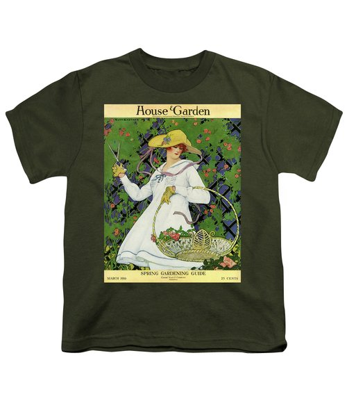 A House And Garden Cover Of A Woman Gardening Youth T-Shirt