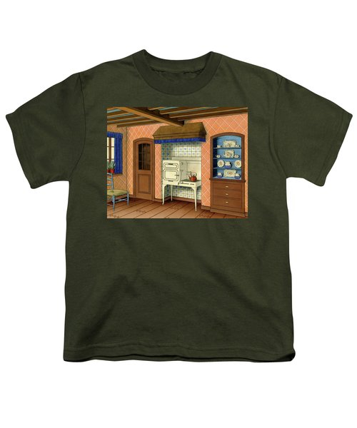 A Kitchen With An Old Fashioned Oven And Stovetop Youth T-Shirt