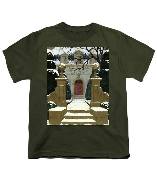 A Snow Covered Pathway Leading To A Mansion Youth T-Shirt