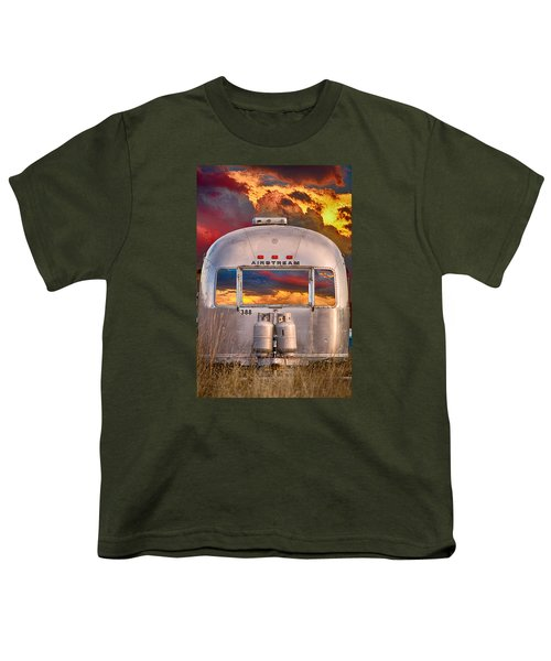 Airstream Travel Trailer Camping Sunset Window View Youth T-Shirt