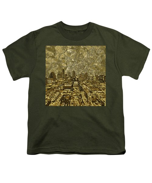 Austin Texas Vintage Panorama Youth T-Shirt by Bekim Art