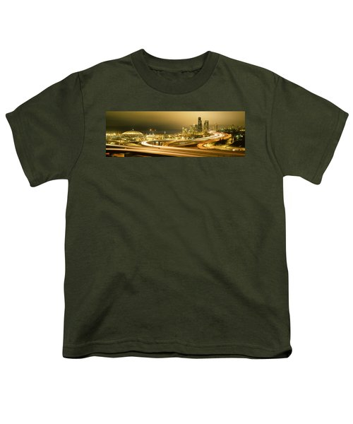 Buildings Lit Up At Night, Seattle Youth T-Shirt by Panoramic Images