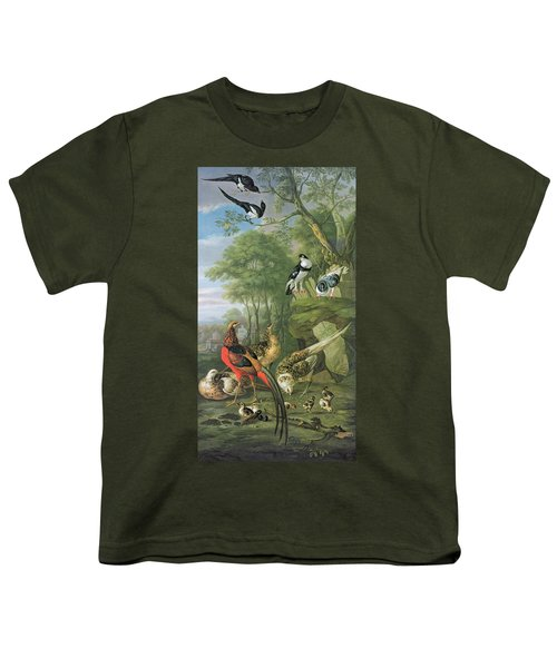Cock Pheasant Hen Pheasant And Chicks And Other Birds In A Classical Landscape Youth T-Shirt