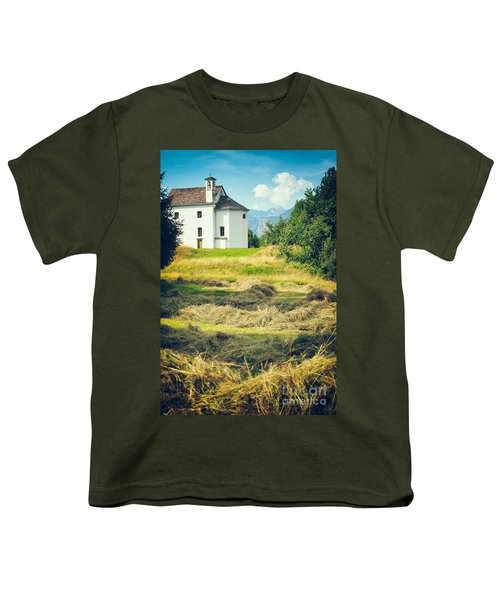 Youth T-Shirt featuring the photograph Country Church With Hay by Silvia Ganora