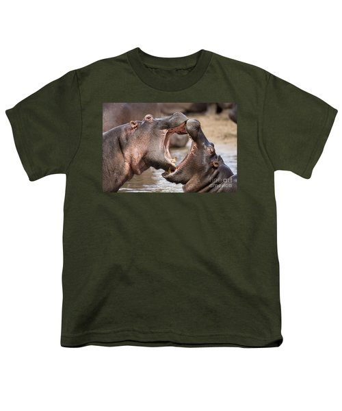 Fighting Hippos Youth T-Shirt by Richard Garvey-Williams