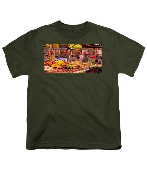 Fruits At Market Stalls, La Boqueria Youth T-Shirt by Panoramic Images