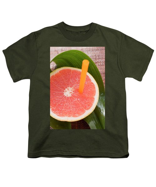 Half A Pink Grapefruit With A Straw Youth T-Shirt