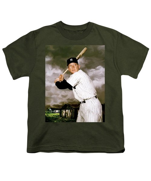 American Fabric   Mickey Mantle Youth T-Shirt by Iconic Images Art Gallery David Pucciarelli