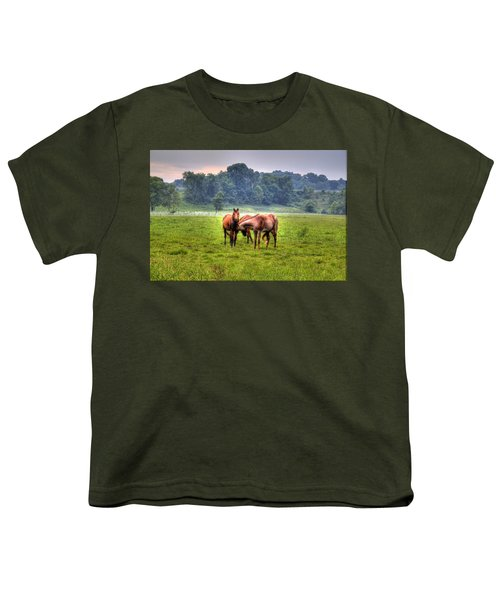 Youth T-Shirt featuring the photograph Horses Socialize by Jonny D