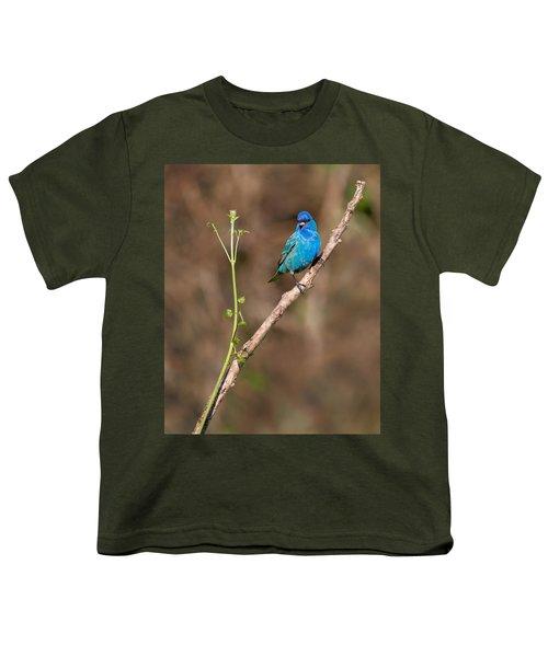 Indigo Bunting Portrait Youth T-Shirt by Bill Wakeley