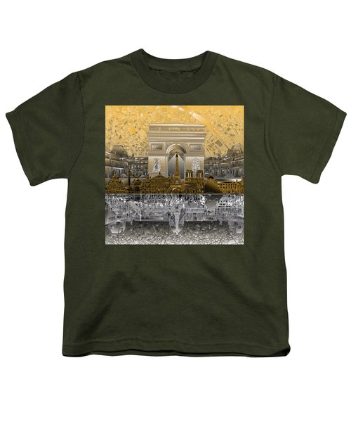 Paris Skyline Landmarks 5 Youth T-Shirt